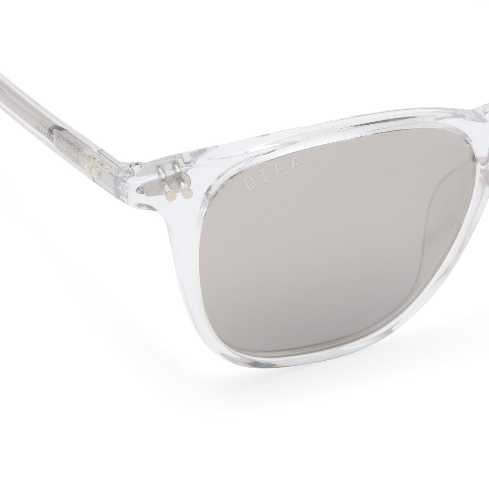Maxwell sunglasses with clear crystal frames and grey mirror polarized lens detail view