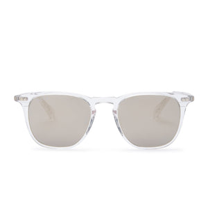 Maxwell sunglasses with clear crystal frames and grey mirror polarized lens front view