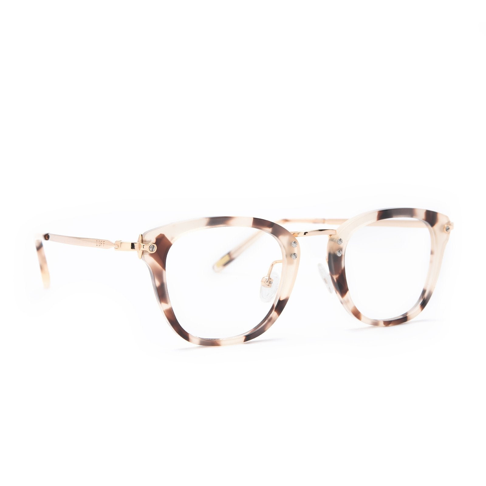 Rue glasses with cream tortoise frames and blue light technology angle view