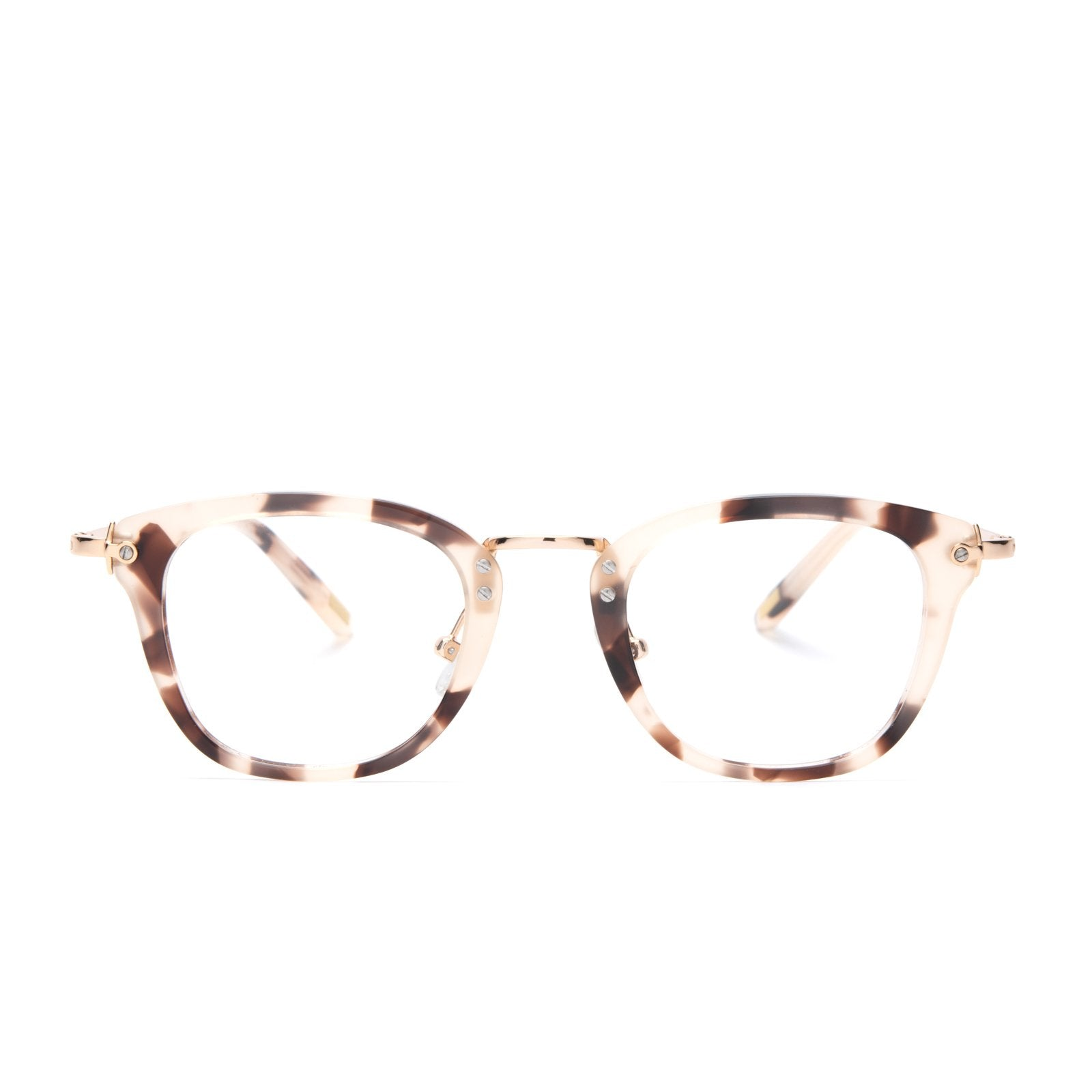 Rue glasses with cream tortoise frames and blue light technology front view