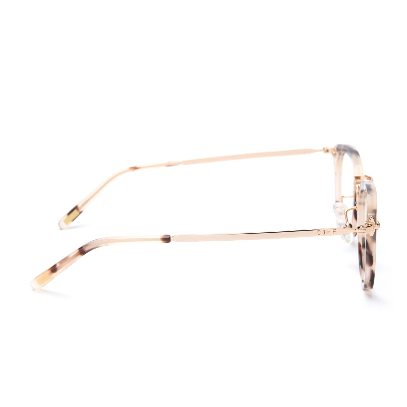 Rue glasses with cream tortoise frames and blue light technology side view