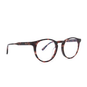Sawyer eyeglasses with wine tortoise frames and prescription lens angle view