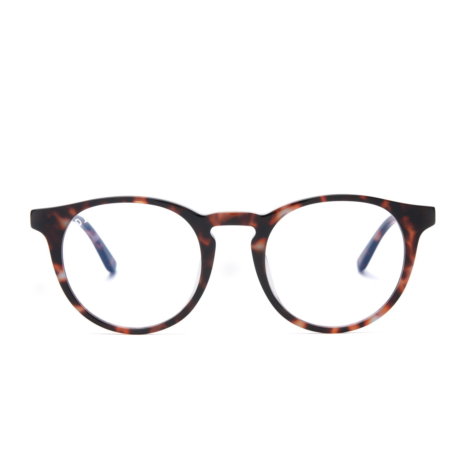 Sawyer eyeglasses with wine tortoise frames and prescription lens front view