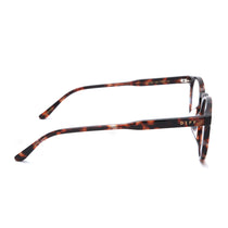 Sawyer eyeglasses with wine tortoise frames and prescription lens side view