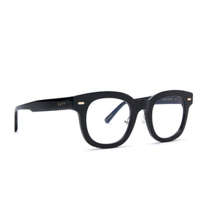 Summer eyeglasses with black frames and blue light technology lens angle view