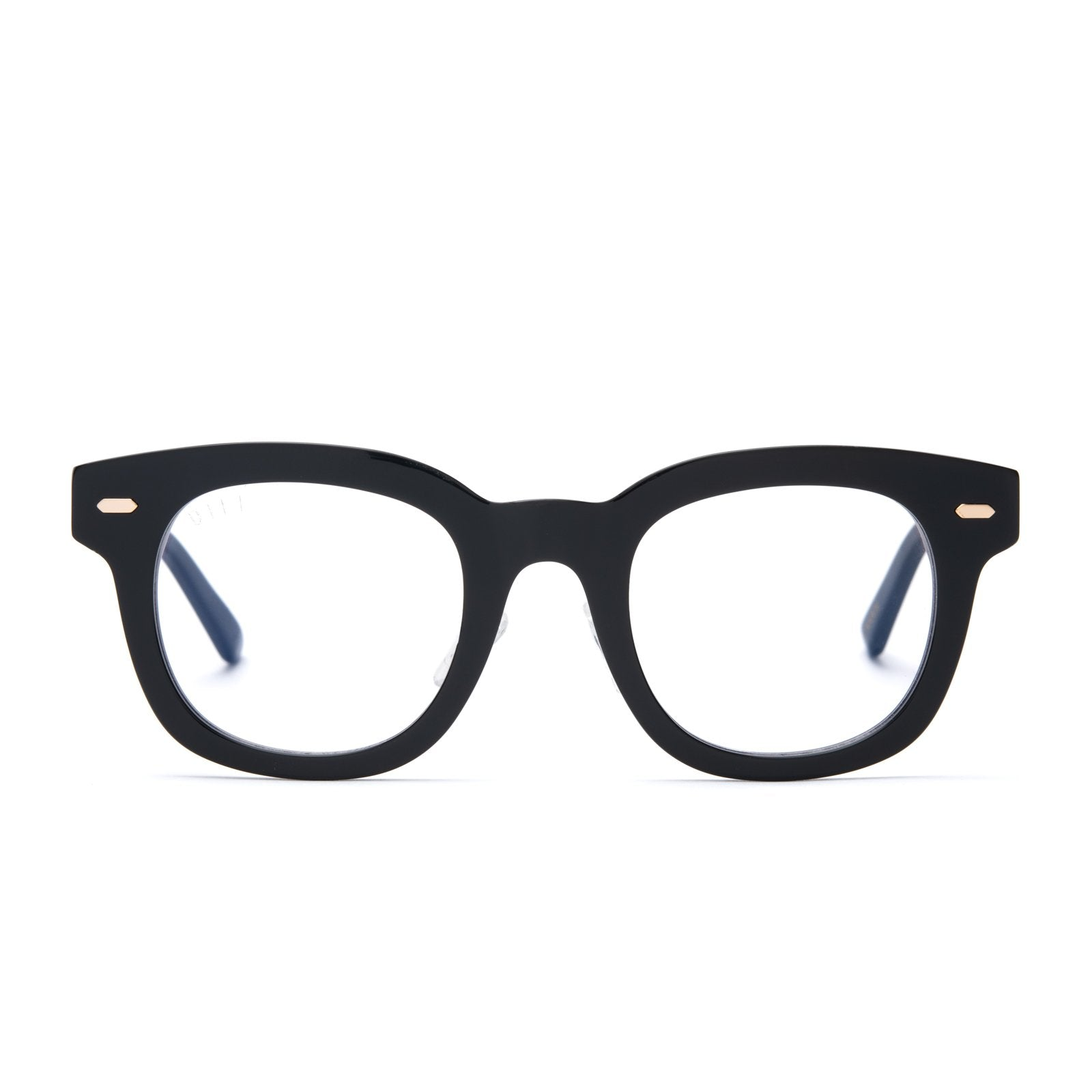 Summer eyeglasses with black frames and blue light technology lens front view