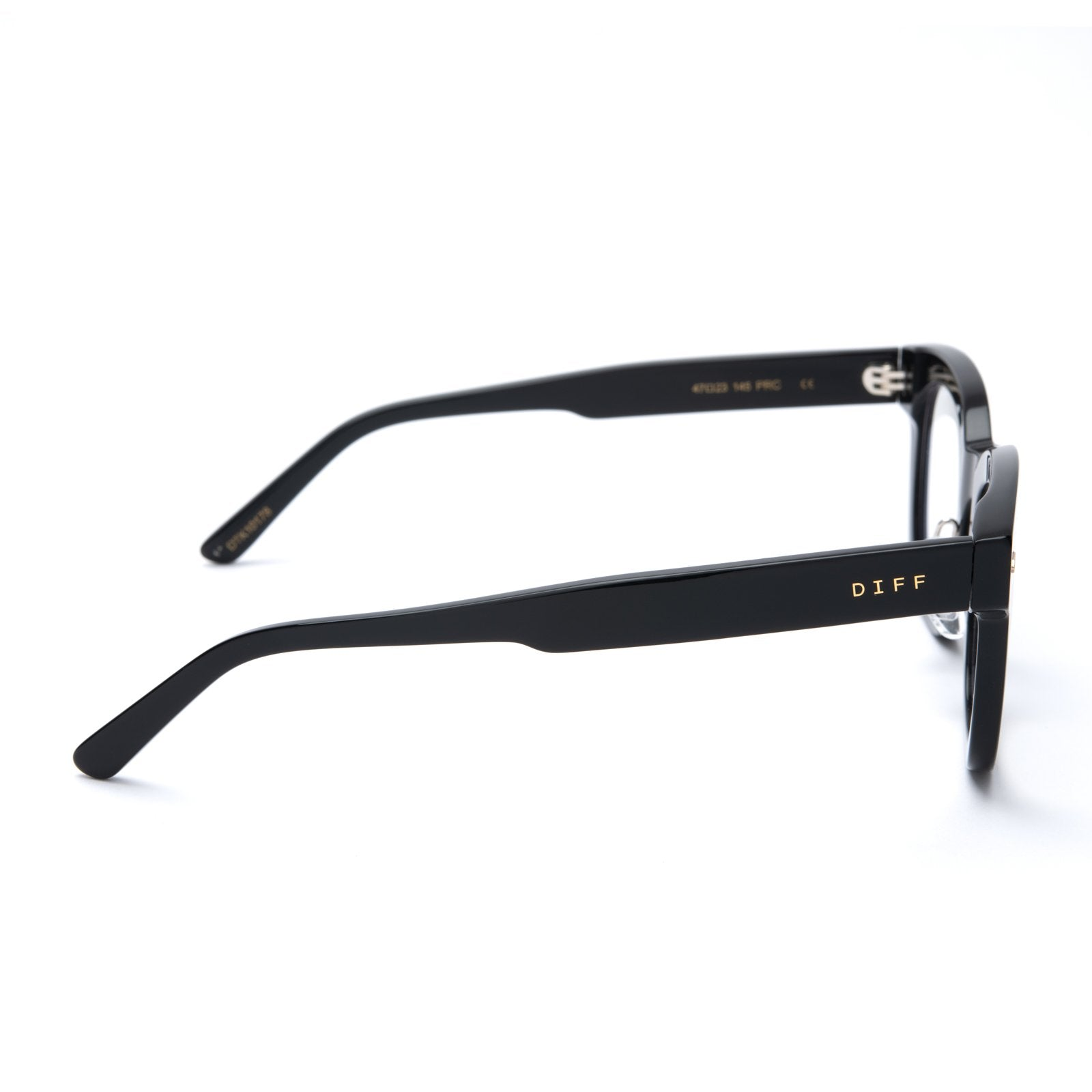Summer eyeglasses with black frames and blue light technology lens side view