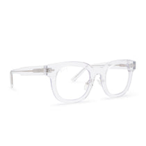 Summer eyeglasses with clear crystal frames and blue light technology lens angle view