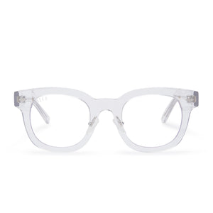 Summer eyeglasses with clear crystal frames and blue light technology lens front view