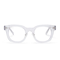 Summer prescription glasses with clear crystal frames and clear lens front view