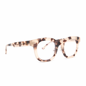 Summer eyeglasses with cream tortoise frames and blue light technology lens angle view