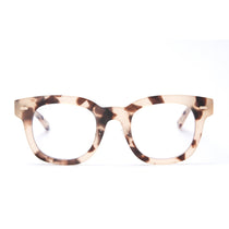 Summer eyeglasses with cream tortoise frames and blue light technology lens front view