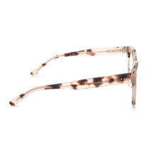 Summer eyeglasses with cream tortoise frames and blue light technology lens side view