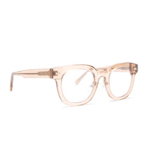 Summer glasses with vintage crystal frames and blue light technology lens angle  view