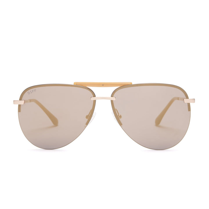 Tahoe sunglasses with brushed gold frames and gold mirror lens front view