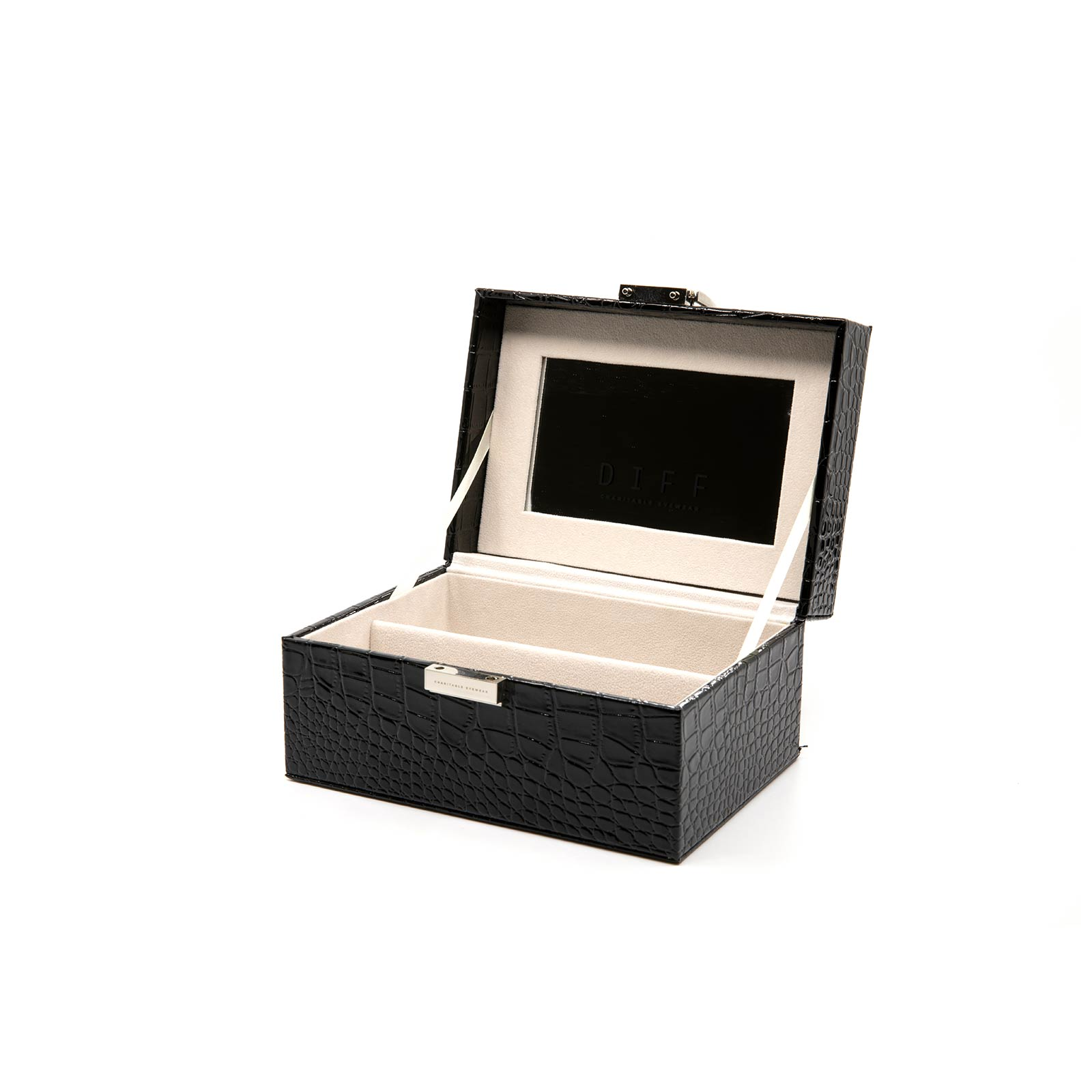 2 PIECE VANITY CASE - BLACK CROC