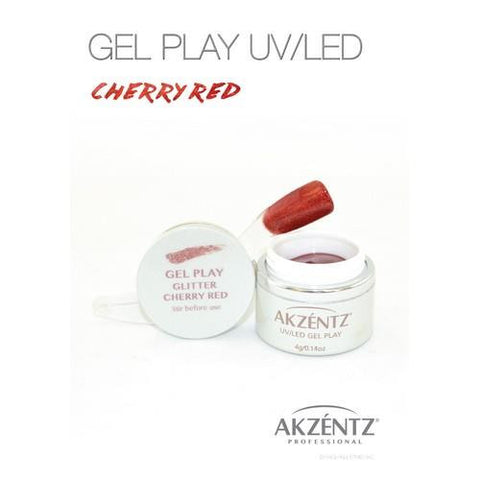 Akzentz - Gel Play Glitter Cherry Red - 4g