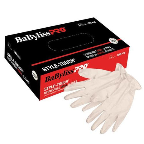 BaByliss PRO - Disposable White Vinyl Gloves - Large - Limit 1 Box Per Customer