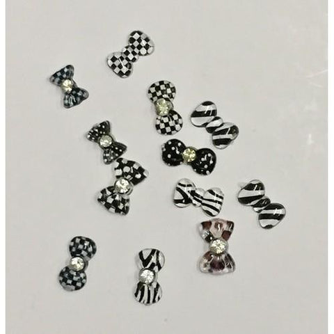 3D Bows - Black & White - 5pck