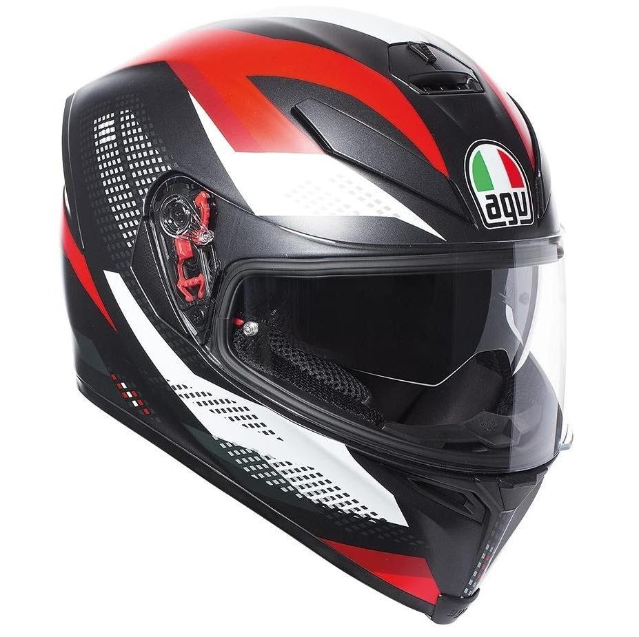 Helmet: AGV K-5 S MARBLE Matt Black/White/Red