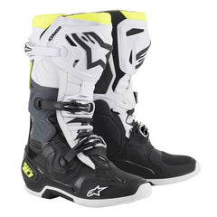 Boots: ALPINESTARS TECH 10 Blk/Wh/FluroYellow