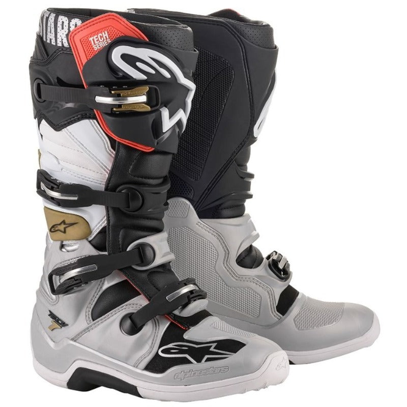 Boots: ALPINESTARS TECH 7 Black/Silv/Whi/Gold