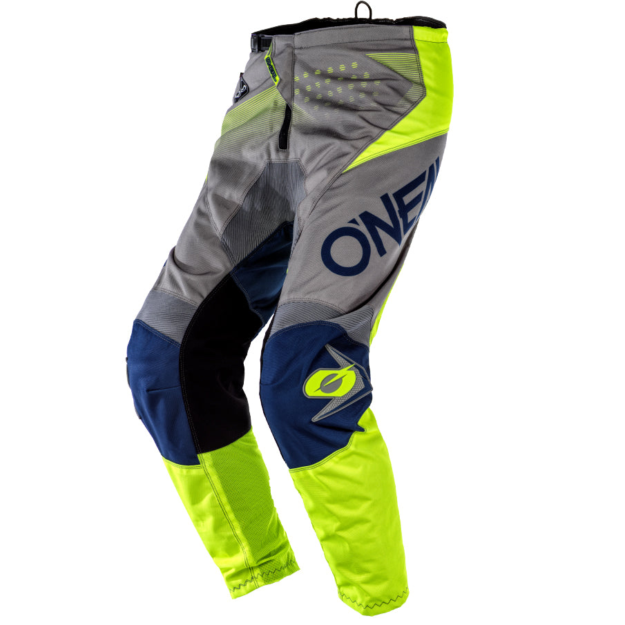 Pants: ONEAL 2020 YOUTH ELEMENT FACTOR Grey/Blue/NeonYel
