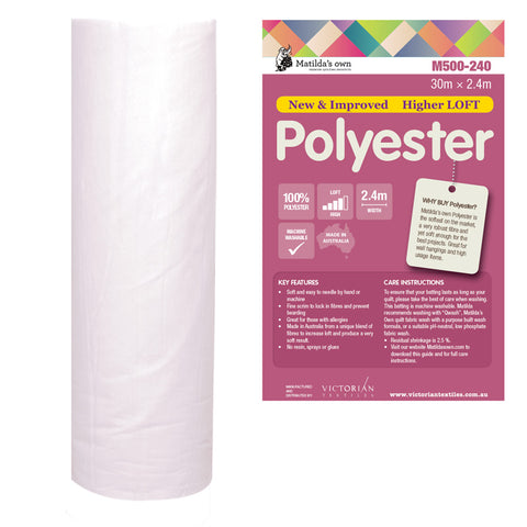 Batting - Polyester - 2.4m wide - M500-240