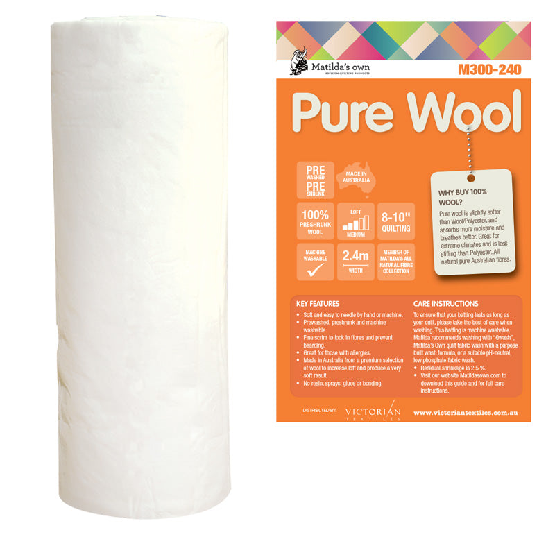 Batting - Wool - 2.4m wide - M300-240