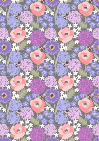 Bee Kind - Allium & Poppies on warm grey - 7099/13