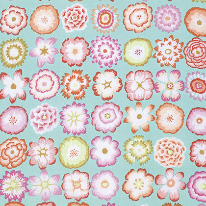 Kaffe Fassett - Fall 2015 - Button Flowers - Aqua - PWGP152.AQUAX