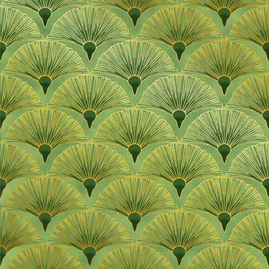 Leesa Chandler's Green with gold Fan fabric from the Melba range