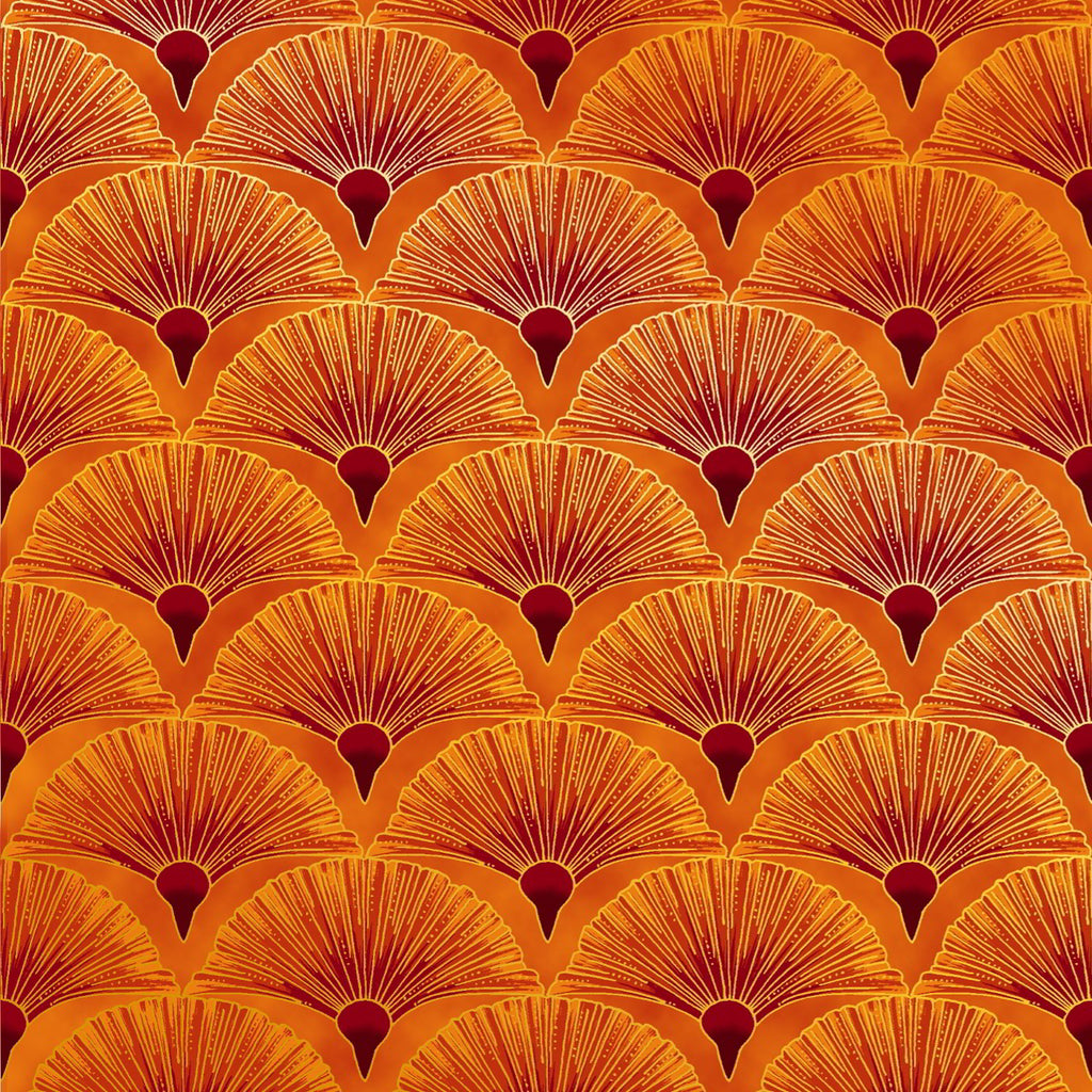 Leesa Chandler's Orange with gold Fan fabric from the Melba range