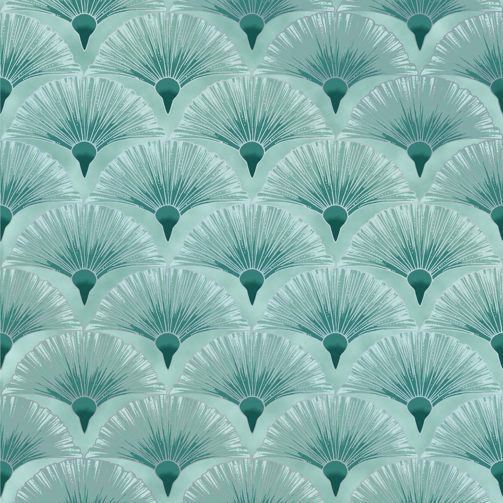 Leesa Chandlers Melba Fan fabric in teal with silver embellishments - 0005 5