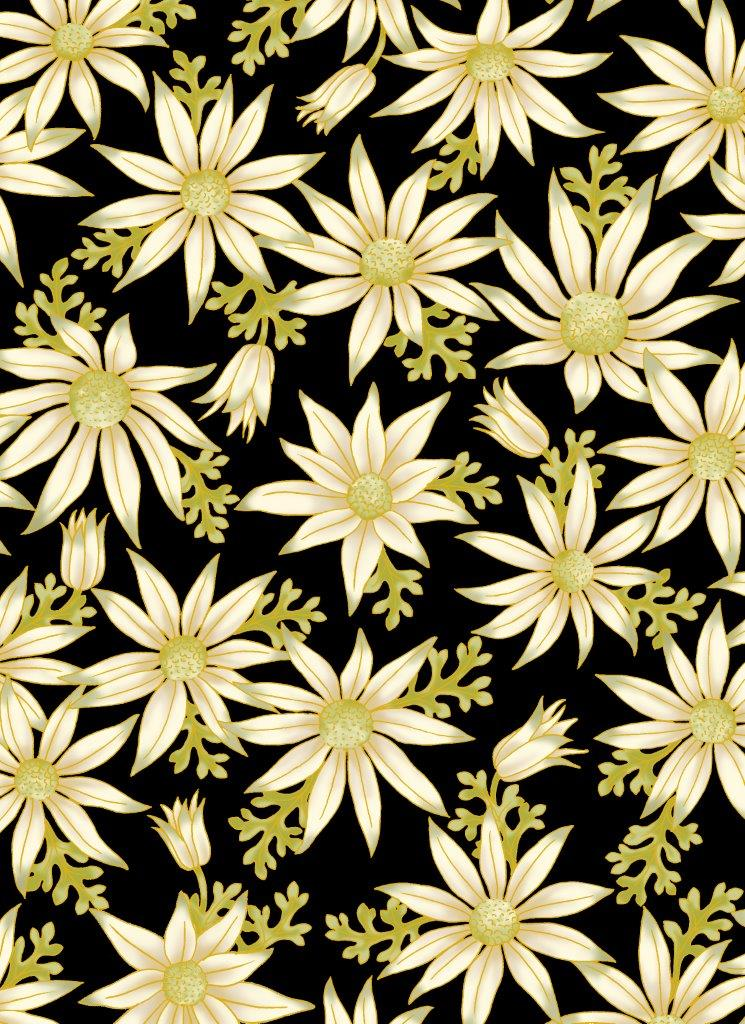 Leesa Chandler - Under the Australian Sun - Flannel Flowers Black - 0015 16