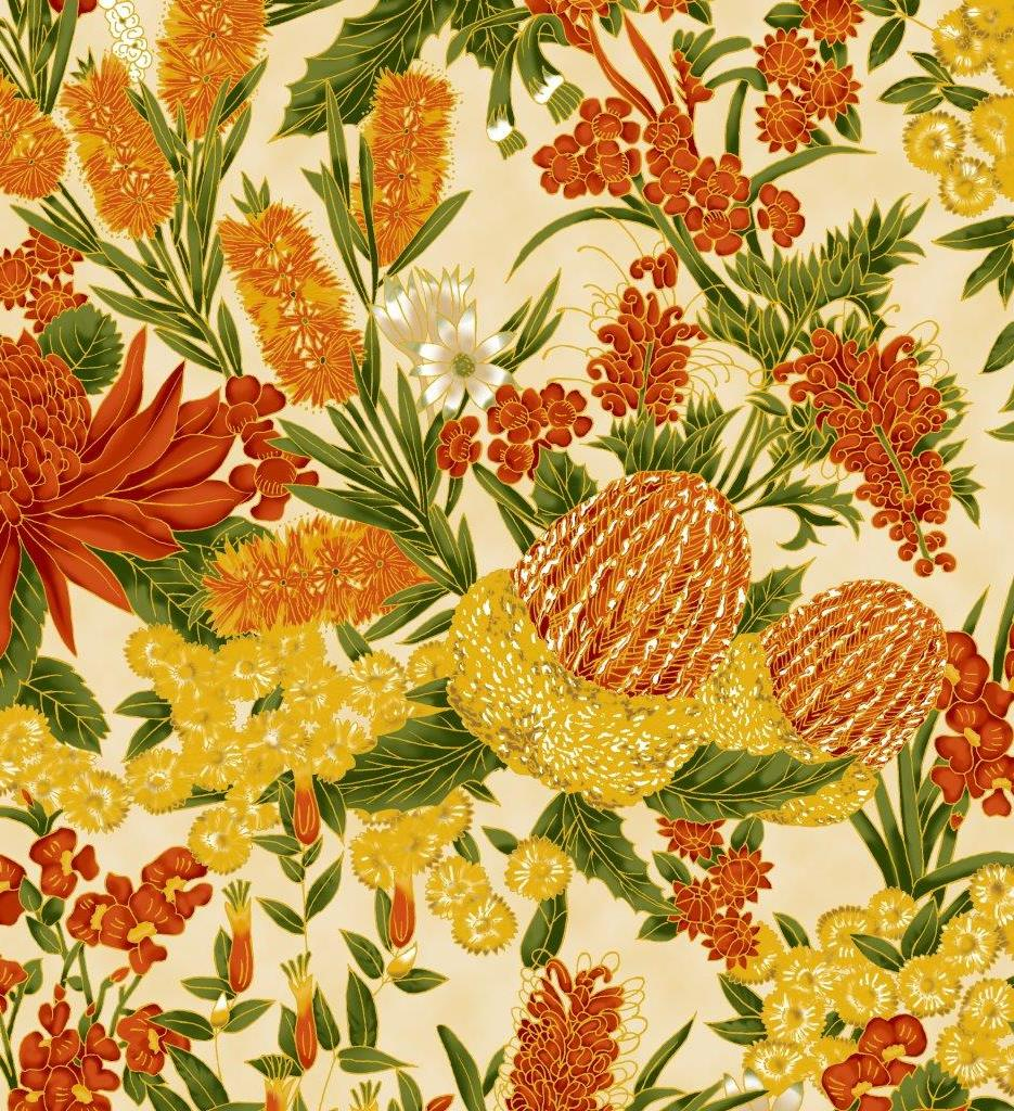 Leesa Chandler - Under the Australian Sun - Floral Orange Cream - 0013 8