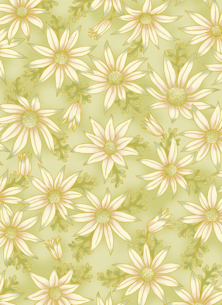 Leesa Chandler - Under the Australian Sun - Flannel Flowers Green - 0015 10