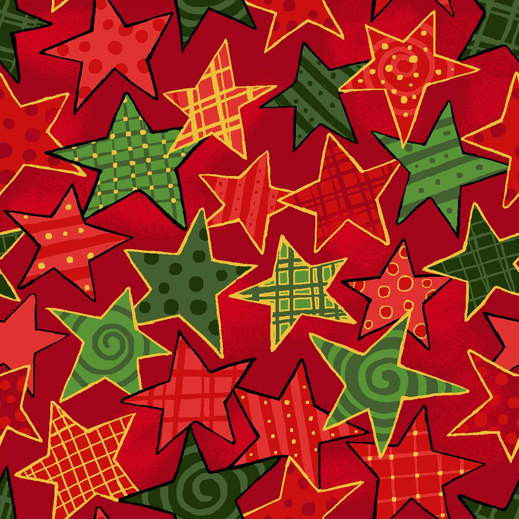 Noel - Stars - Large Red - 60-15802 Red and Green stars outlined in gold on a red background