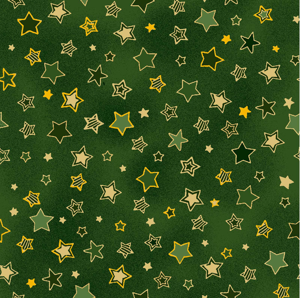Noel - Stars - Small Green - 60-15903 Green stars outlined in gold on a mottled green background