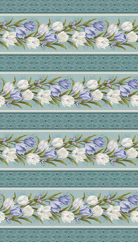 Totally Tulips Stripe Teal 9011 3804