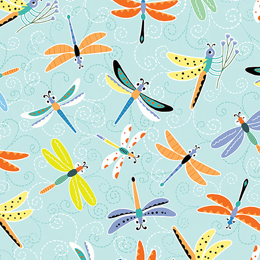 Toadily Cute Happy Dragonflies Aqua 9061 3905