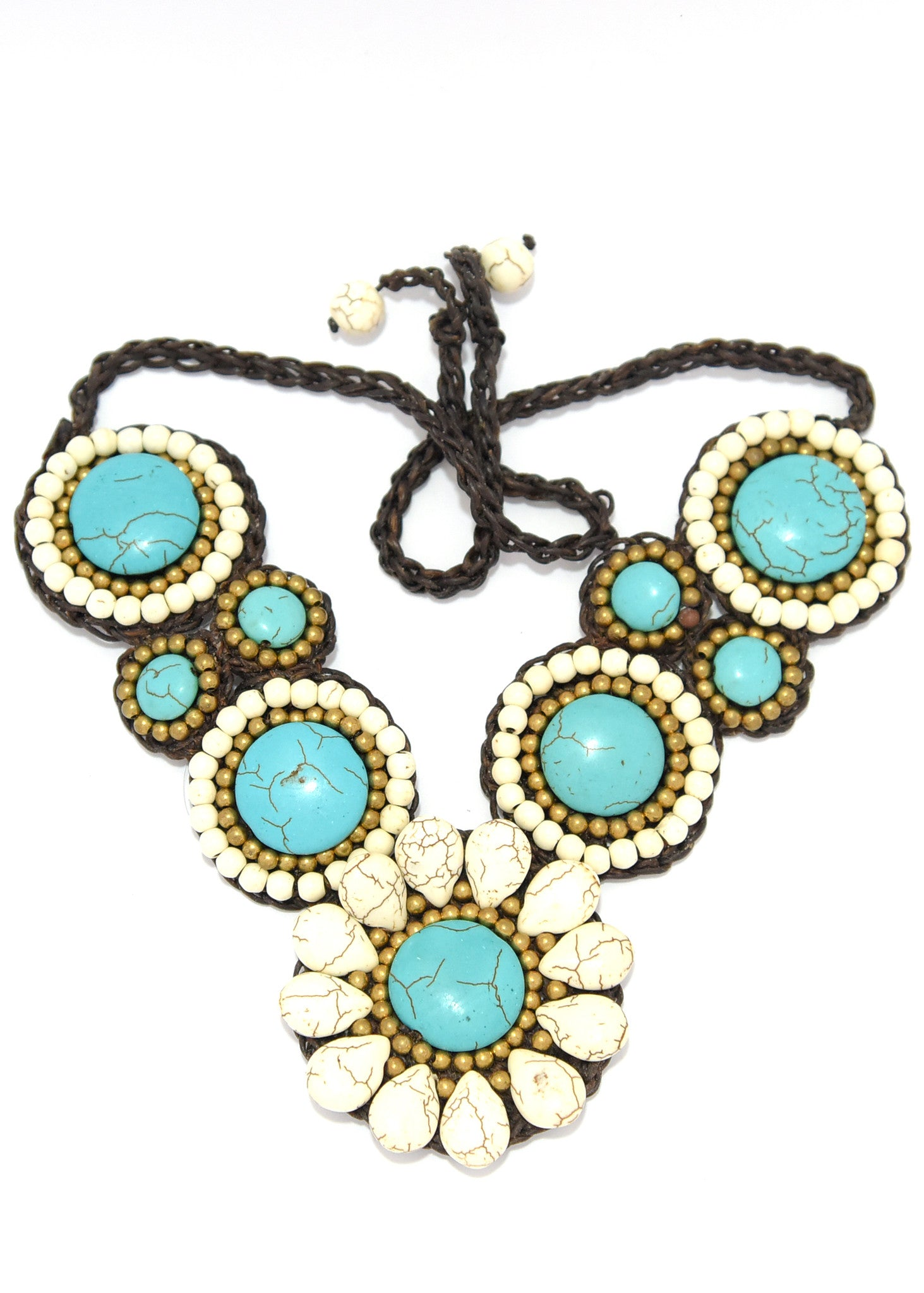 gold with white stones precious stone foil glass murano product semi aqua necklace multi jewellery