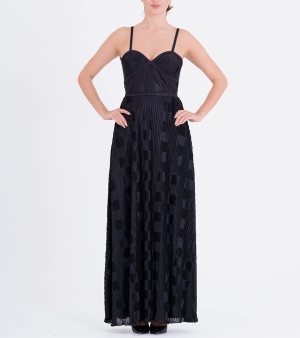 Metallic Cord detailed Pleated Long Dress