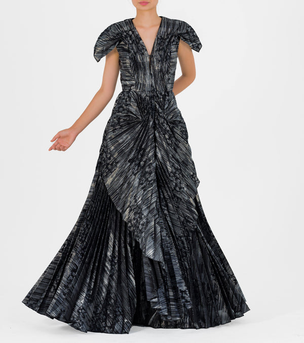Pleated Fil-coupe Gown