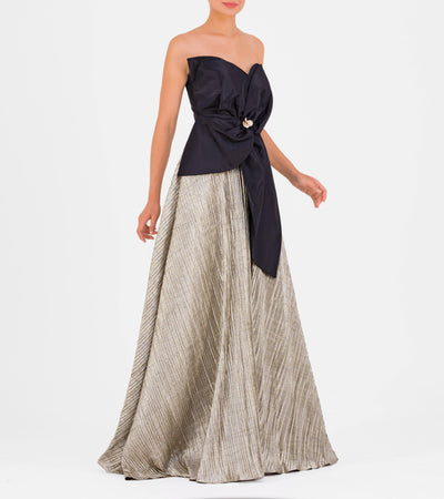 Flower-Accented Taffeta Gown - John Paul Ataker