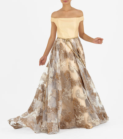 Off-shoulder Fil-coupe and Jacquard Long Dress - John Paul Ataker