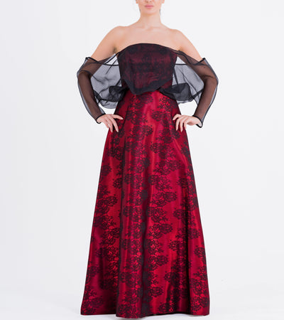 Voluminous Organza Sleeve Detailed Jacquard Long Dress - John Paul Ataker