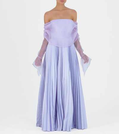 Draped Bodice and Pleated Taffeta Gown - John Paul Ataker