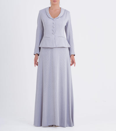 Structured Ribbed Jacquard Long Dress - John Paul Ataker