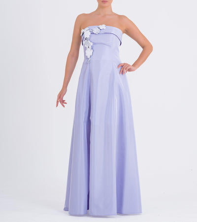 3D flower detailed two-tone long taffeta dress - John Paul Ataker